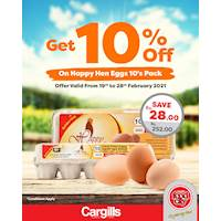 Get 10% off on Happy Hen Eggs at Cargills FoodCity!
