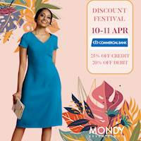 Enjoy 25% off on Credit & 20% off on Debit cards, exclusively for Commercial bank cardholders at Mondy