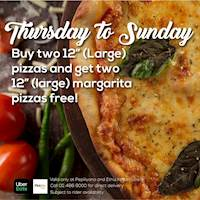 "Thursday to Sunday Deal - Buy two 12"" (large) pizzas and get two 12"" (large) margarita pizzas for free at Harpo's Pizza"