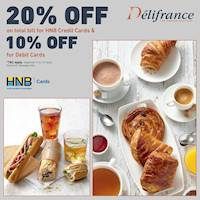 Get 20% Off on the total bill for HNB Credit Cards and 10% off on Debit Cards at Delifrance