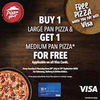 Buy any Large Pan Pizza using your Visa card & get a Medium Pan Pizza from the same or a lesser range absolutely FREE at Pizza Hut Sri Lanka