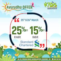 Get up to 25% off for Standard Chartered credit and debit cards at The Kids Warehouse for this avurudu season