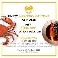 20% off on Direct Delivery at Ministry of Crab