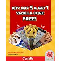 Buy any 5 ice creams and get a Magic Vanilla Cone free at Cargills FoodCity