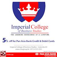 5% off at Imperial College of Business Studies for Pan Asia Bank Credit and Debit Cards
