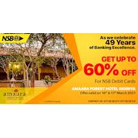Enjoy up to 60% off at Amaara Forest Hotel with NSB debit cards