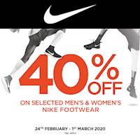FLAT 40% OFF on selected Men's and Women's NIKE Footwear at Galleria by Softlogic