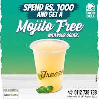 Spend Rs.1000 and Get a Lime, Passion or Strawberry Mojito FREE with your order at Taco bell