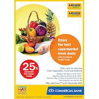 Get 25% Discount on Selected fresh vegetables, fruits and seafood for Combank Credit Cards at LAUGFS Supermarket