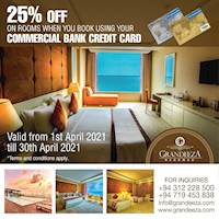 Get 25% off Rooms on Commercial Bank Credit Cards at GRANDEEZA