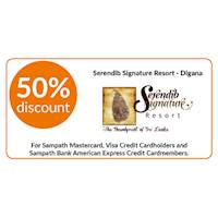 50% discount on double and triple room bookings on full board, half board stays at Serendib Signature Resort, Digana for Sampath Bank Cards