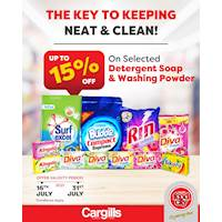 Get up to 15% OFF on a selected detergent soap and washing powders at Cargills FoodCity
