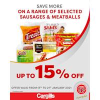 Get up to 15% on selected Sausages & Meatballs at Cargills FoodCity!