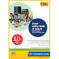 Enjoy up to 10% Discount at tudo.lk with ComBank Credit and Debit Cards