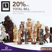 Buy soverniers and other novelty gifts from Lakarcade and receive 20% off your total bills worth Rs. 1,000 Exclusively for One Galle Face Rewards Members