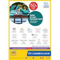Relax at your favourite hotel with ComBank Credit Cards.