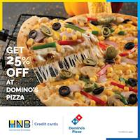 Get 25% off from the total bill (Excluding Beverages) only on Mondays at Domino's Pizza with your HNB Credit Card.