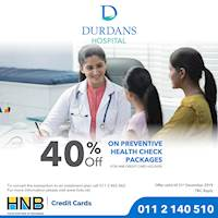 40% on Preventive Health Check Packages for HNB Credit Card holders