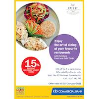 Enjoy 15% Discount for ComBank Credit and Debit Cards at Cafe 97