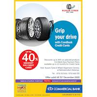 Up to 40 % discount with Commercial bank credit cards at Kusum Tyres