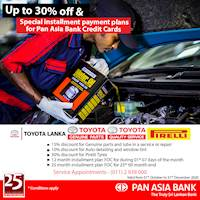 Up to 30% Off at Toyota Lanka with Pan Asia Bank Credit Cards