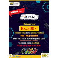 Redeem Your Rs 500 voucher with daraz online purchases exclusively for BOC Debit(Chip) Cards