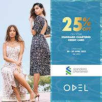 Shop with your Standard Chartered Bank credit card at ODEL and get a 25% discount