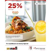 Enjoy 25% Savings on total bill for DFCC Credit Cards at Isso