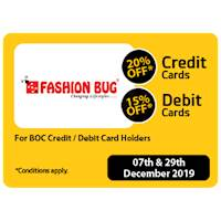 20% OFF for BOC Credit Card Holders & 15% OFF for BOC Debit Card Holders at Fashion Bug