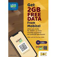 Get 2GB FREE DATA from Mobitel when you pay at LankaQR merchants via SmartPay.