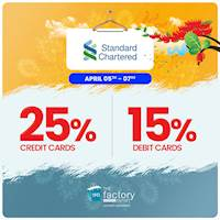 Get up to 25% OFF At The Factory Outlet for Standard Chartered Bank Cards