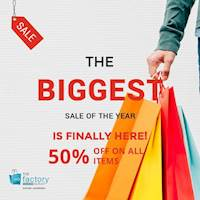 Receive a 50% flat rate off on all items at The Factory Outlet