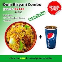 Dum Biriyani Combo at Royal Burger