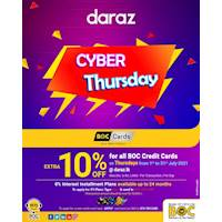 BOC Cyber Thursday! EXTRA 10% OFF sitewide + 0% Plans up to 24M for BOC Credit Cards on Thursdays at daraz.lk