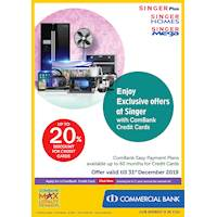 Enjoy up to 20 % discount on Electronic appliances with Combank credit cards at Singer