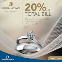 Get 20% off your total bill for bills over Rs. 1,000 at BODY JEWEL Exclusively for One Galle Face Member