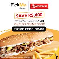 Save Rs. 400 When You spend Rs 1600 Via Pickme Food from Dinemore