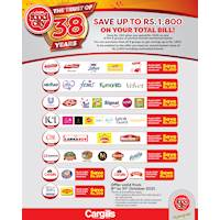 Now you can save up to Rs. 1,800 on your total bill in honour of Cargills' 38th anniversary