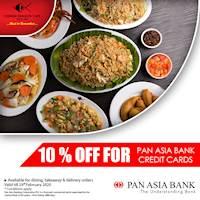 Enjoy 10% saving on PAN ASIA BANK credit cards at Chinese Dragon Cafe