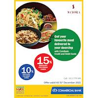 Get your favourite meal delivered to your doorstep from Sanora with ComBank Credit and Debit Cards