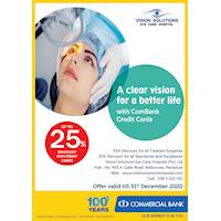 Up to 25 % discount for Commercial bank Credit Cards at Vision Solution Eye care Hospital