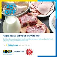 Get 25% off on dairy & meat items at Cargills Food City using your HNB Credit Card!