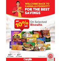 Get 10% off on Selected Biscuits at Cargills Food City