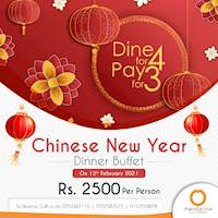 Dinner Buffet - Dine for 4 Pay for 3 for Chinese New Year at Mandarina Colombo