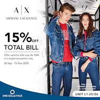 15% off on Total bill at Armani Exchange One Galle Face