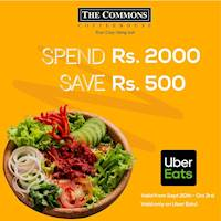 Spend Rs. 2000 and save Rs. 500 when you order from Uber Eats at The Common's