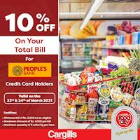Get 10% off on your total bill when you pay using your Peoples's Bank Credit Cards at Cargills Food City