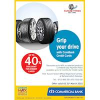 Enjoy up to 40% Discount for ComBank Credit Cards at kusum Tyres