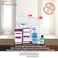 70% IPA gel-base sanitizers and 80% ethanol liquid disinfectant with aloe vera and cosmetic grade ingredients from British Cosmetics (pvt) Ltd
