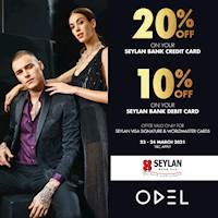 Shop at ODEL and Get 20% off on your Seylan Bank Visa Signature and Worldmaster Credit card and 10% off on Debit cards